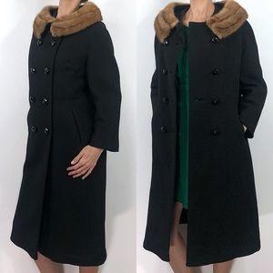 Vintage 60s Forstmann Fur Collar Heavy Long Coat